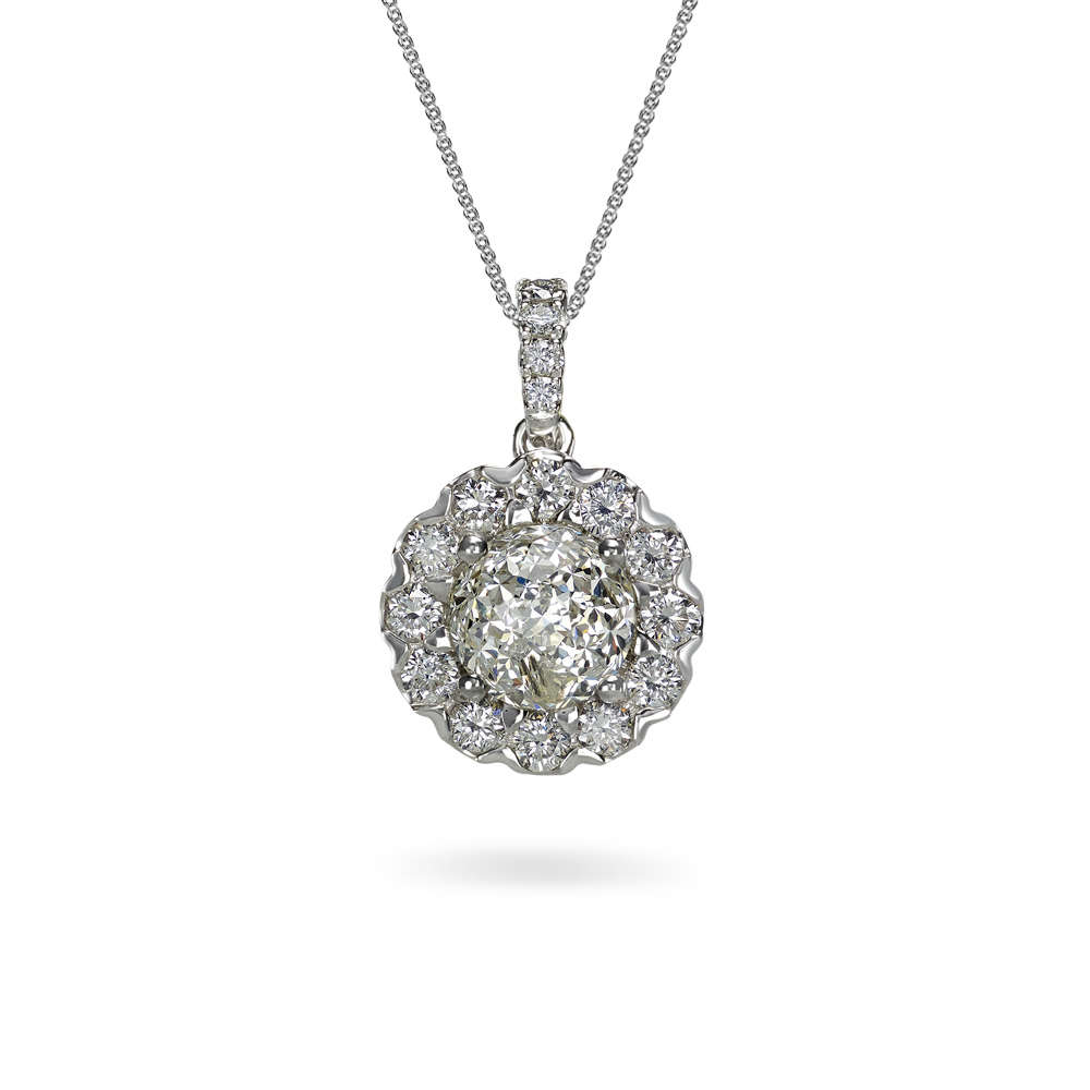 products pendant collections cz brilliant halo collection necklace round drop gemour