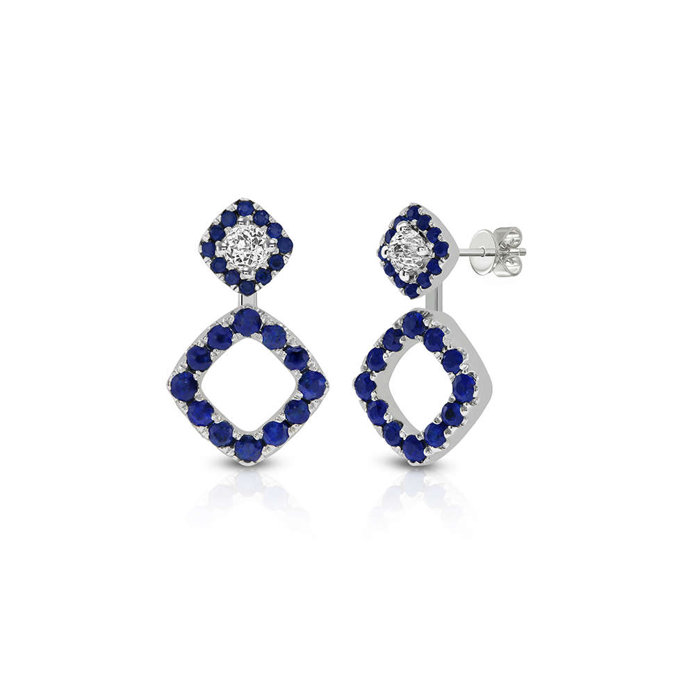diamonds sapphire with saphire blue earrings claude